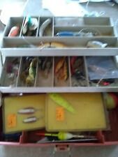 Vintage 2-Tray white/orange Tackle Box With Lots of Fishing lures etc