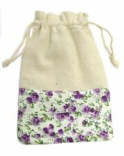 "Cotton Bag Beige Purple Floral Gift Bag 4""x6"" Draw String Retro Floral Print"