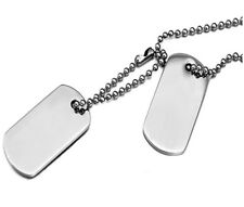 Hi- Shine Two Tag Stamped Sterling Silver 925 Plated Dog Tags 24 inch Chain. UK
