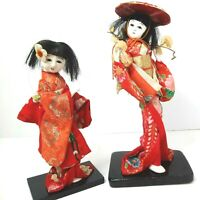 Vtg Japanese  Geisha Dolls in kimono  on Wood Base made in Japan