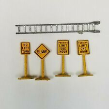 Vintage Miniature Metal Cast Yellow Signs Model Train Railroad Pieces Ladder Lot