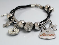 Genuine Braided Leather Charm Bracelet With Name - JENNIFER - Gifts for her
