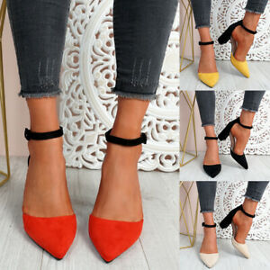 WOMENS LADIES TWO TONE HIGH BLOCK HEEL PUMPS POINTED TOE ANKLE STRAP WOMEN SHOES