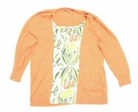 Next Womens Size 14 Floral Cotton Orange Top (Regular)