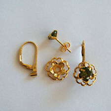 Georgous Earring set 3 pc Gold Jackets. Emerald Studs and convertiblez