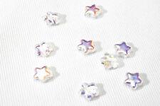 #27035  10 Glasperlen Stern Glas Anhänger Schmuck Perle 12mm klar/irisierend