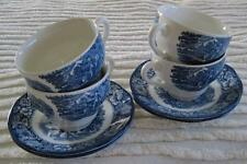 Four Liberty Blue Staffordshire Cups Paul Revere Christ Church Cups and Saucers