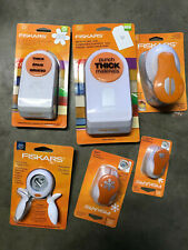 """Lot of 6 FISKARS Punches, 2"""" tag, Heart, Floral, Snowflake, Dove, Feathers"""