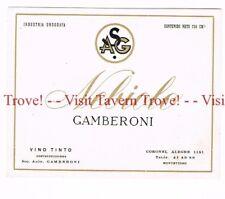 Unused 1940s URUGUAY Montevideo Gamberoni Nebiolo Vino Tinto Wine Label