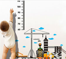 Cartoon Car Building Height Measure Wall Sticker | Kid Room Growth Chart Decal