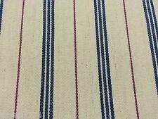 Azul Crema Vino Lienzo de rayas tejido 214cm ancho por 1,5 metros
