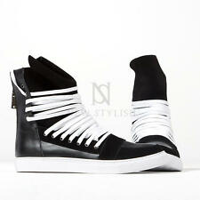 NewStylish Mens Shoes Overlaced Hightongue Zipper High-top White Sneakers