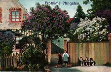 Pfingsten, Haus, blühende Bäume, Kinder, 1919 in Nienburg / Weser versandt