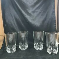 "Set of 4 Vintage Heavy Clear Cut Glass Block Bottom 5.25"" Tumblers"