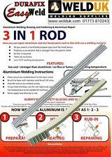 2 x de aluminio de baja temperatura de soldadura y soldadura Soldadura Durafix Easyweld + Pincel E020