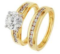 14k Yellow Gold Over White 3Ct Diamond Engagement /Wedding Band Bridal Ring Sets