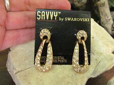 Gold tone Swarovski Swan marked White Clear Crystal Dangle Stud Earrings Wedding