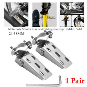 2PCS Motorcycle Scooter Rear Seat Folding Non-slip Pedal Leg Support Foot Lever
