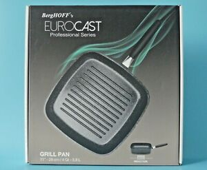 """BERGHOFF EUROCAST PROFESSIONAL SERIES 28cm (11"""") GRILL PAN ~ ALL TYPES OF HOB"""