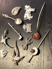 """Antique old sterling silver pin lot"" Victorian carnelian abalone & more LTPX"