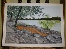 VINTAGE FOLK ART PRIMITIVE MINIMALIST GRAY DAY ROCKS TREES BARREN W/C  PAINTING