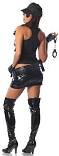 SWAT Team Lady Police Officer Costume Faux Leather Vest Skirt Hat XS SMALL 0 2