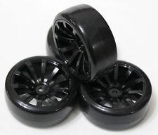 4 PCS BLACK Samurai Wheel Rim +Hard Plastic Drift Tires FOR 1/10 RC On Road Car