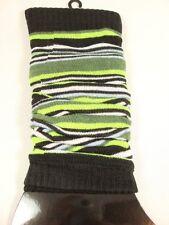 Iris Women's green white black stripes fashion leg warmer socks One size New