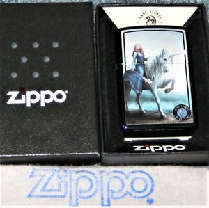 ZIPPO ANNE STOKES Lighter SOLACE Color Image LADY ON UNICORN Blue Sapphire NEW