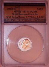 2018-S Roosevelt Dime ANACS SILVER REVERSE PROOF RP70 First Day Of Issue