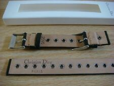 Genuine Original Christian Dior watch strap band 14.5mm Black Leather 2 buckle
