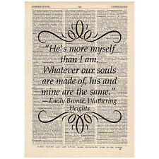 He's more myself than I Dictionary Art Print Book Emily Bronte Wuthering Heights