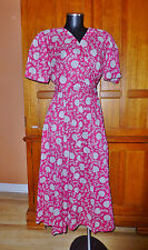 VTG 90s LIZ CLAIBORNE Floral Print Cotton sz 12 L Boho Country Flared Midi DRESS