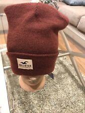 New Hollister Beanie Logo Hat Red Maroon Winter Unisex Sock Toboggan Cap One Sz