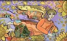 Original Glass Painting, Ukrainian Folk Art, Flying Angel, by Elena Diadenko