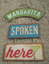 Margarita Spoken Here Tiki Beach Bar Wood Cantina Rope Sign Home Decor New