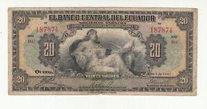 Ecuador 20 sucres 1941 circ. @ low start