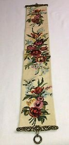 """VTG Needlepoint Tapestry BELL PULL Hardware Floral Wall Hanging 36"""" x 6"""" Lined"""