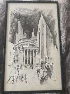 RARE William Papas print Of Manchester Central Library And Town Hall 1960's