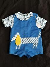 Vintage baby boy polka dot shirt and blue hotdog applique shortall set 0-3M