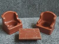 Vintage Fisher Price Little People 2 Brown Stuffed Armchairs Coffee Table #952