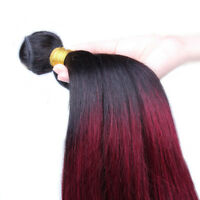 3Bundles Ombre 1B/99J Burgundy Red Straight Brazilian 100% Human Hair Extensions