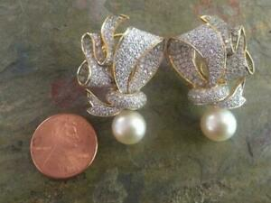 New 2.00 CT Ribbon Design Diamond earrings White pearl 14K yellow gold Finish