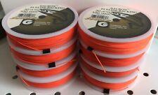 Lot of 8 Spools Gudebrod Dacron Fly Line Backing 30 lb 100 yds, Hi Vis Orange