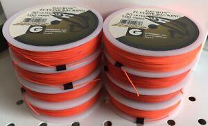 8 Spools Gudebrod Dacron Fly Line Backing 30# Orange + FREE Loop Connectors