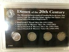 Canada coinage 10 cents dime set coins , 3 silver 1936 1940 1966  , 1990
