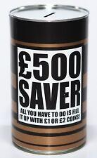 £500 Saver - Large 17.5cm Savings Tin Money Box Jar Fund Holds upto £1000