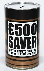 £500 Saver - Large 17.5cm Savings Tin Money Box Jar Fund Holds upto £1000