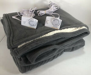 BIDDEFORD Micro Plush Sherpa Heated Blanket, QUEEN Electric GRAY Dual PREOWNED