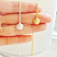 Sterling Silver Tiny Shell Clam Seashell Round Necklace Pendant Handmade 16""